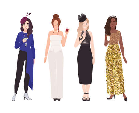 Set of young women in fancy evening outfits isolated on white background. Bundle of elegant female characters dressed for cocktail party or formal occasion. Vector illustration in flat cartoon style Vector Illustratie