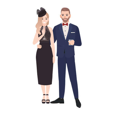Couple in elegant evening clothes standing together and drinking alcohol isolated on white background. Stylish man and woman dressed for celebratory occasion. Flat cartoon vector illustration