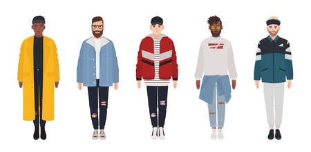 Set of attractive hipster guys dressed in trendy clothes isolated on white background. Bundle of young men wearing stylish casual apparel. Collection of street style outfits. Flat vector illustration