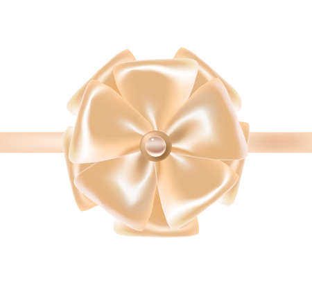 Beige satin ribbon or tape decorated with bow. Exquisite decorative design element. Beautiful festive shiny silk decoration for holiday gift package. Colorful realistic vector illustration