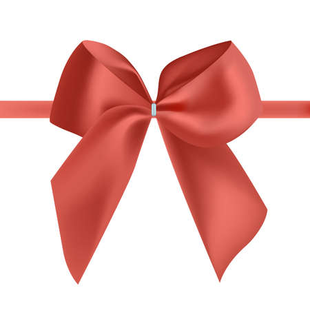 Bright red silk ribbon or tape decorated with bow. Fancy decorative design element. Beautiful festive glossy satin decoration for holiday gift package. Colorful realistic vector illustration