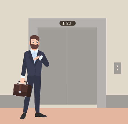Hurrying bearded man, businessman or office worker dressed in suit standing in front of closed doors of elevator and looking at his wristwatch. Colorful vector illustration in flat cartoon style