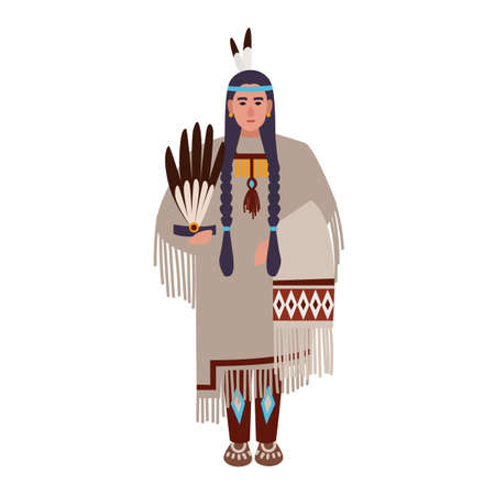 American Indian woman with braids or squaw wearing ethnic tribal clothes. Indigenous peoples of America. Female cartoon character isolated on white background. Colorful flat vector illustration  イラスト・ベクター素材