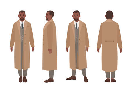 African American man dressed in elegant suit and trench coat. Male cartoon character in stylish outerwear isolated on white background. Front, side and back views. Flat cartoon vector illustration