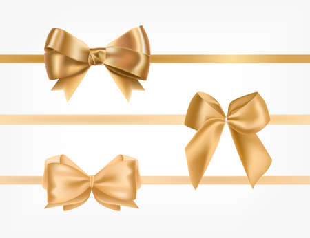 Bundle of golden satin ribbons decorated with bows.Collection of fancy decorative design elements. Set of festive gift decorations isolated on white background. Colorful realistic vector illustration