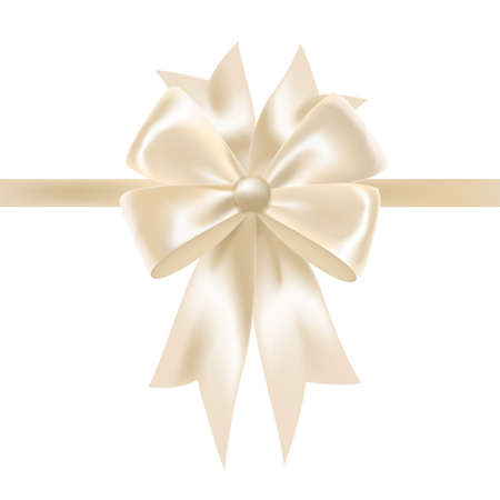 White glossy satin ribbon or tape decorated with bow. Elegant decorative design element. Gorgeous festive shiny silk decoration for holiday gift packaging. Colorful realistic vector illustration