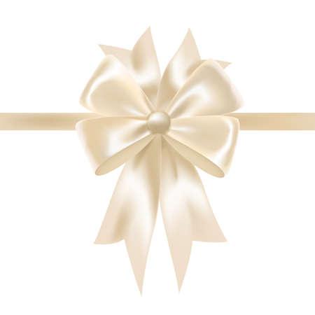 Weißes glänzendes Satinband oder Band mit Schleife verziert. Elegantes dekoratives Gestaltungselement. Wunderschöne festliche glänzende Seidendekoration für die Weihnachtsgeschenkverpackung. Bunte realistische Vektorillustration