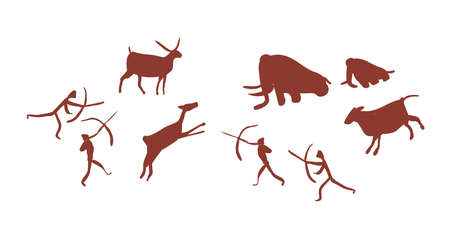 Parietal art or cave painting depicting group or tribe of Stone age people or hunters hunting deers and mammoths. Silhouettes of prehistoric men attacking wild animals. Flat vector illustration Vettoriali