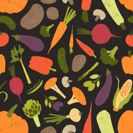 Seamless pattern with fresh tasty vegetables and mushrooms on black background. Backdrop with healthy vegetarian food or harvested crops. Flat colorful vector illustration for fabric print, wallpaper