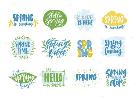 Bundle of spring or springtime phrases or slogans handwritten with calligraphic fonts and decorated by natural seasonal elements. Collection of hand drawn lettering. Colorful vector illustration