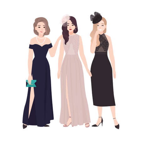 Group of young women in elegant evening dresses standing together and talking or gossiping at party or prom ball. Stylish girls isolated on white background. Flat cartoon vector illustration