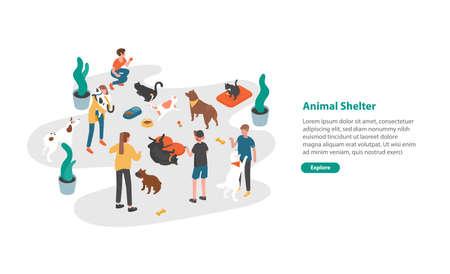 Plantilla de banner web con personas o voluntarios alimentando mascotas y jugando con ellas en refugio de animales, centro de rehabilitación o adopción para perros y gatos Ilustración de vector isométrico colorido