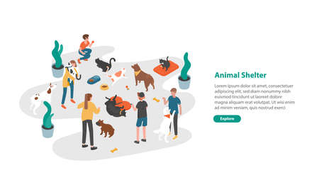 Web banner template with people or volunteers feeding pets and playing with them in animal shelter, pound, rehabilitation or adoption center for cats and dogs. Colorful isometric vector illustration