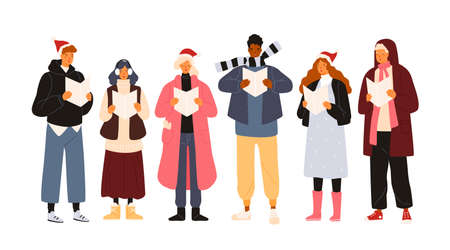 Choir or group of cute men and woman dressed in outerwear singing Christmas carol, song or hymn. Smiling street singers or carolers isolated on white background. Holiday flat vector illustration
