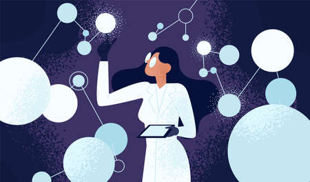 Investigadora en bata de laboratorio comprobando neuronas artificiales conectadas a la red neuronal. Neurociencia computacional, aprendizaje automático, investigación científica. Ilustración de vector de estilo de dibujos animados plana. Ilustración de vector