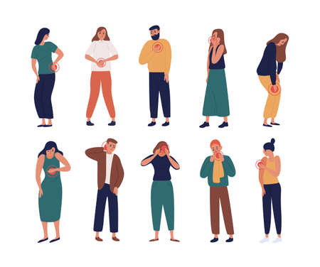 Collection of unhappy people suffering pain or ache in different body parts - chest, neck, leg, back, arm. Set of ill people isolated on white background. Flat cartoon colorful vector illustration. Stock Vector - 114616444