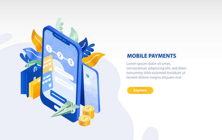 Horizontal web banner template with smartphone, flying paper plane, coins, shopping bags and place for text. Mobile payment, electronic money transfer technology. Isometric vector illustration. Vettoriali