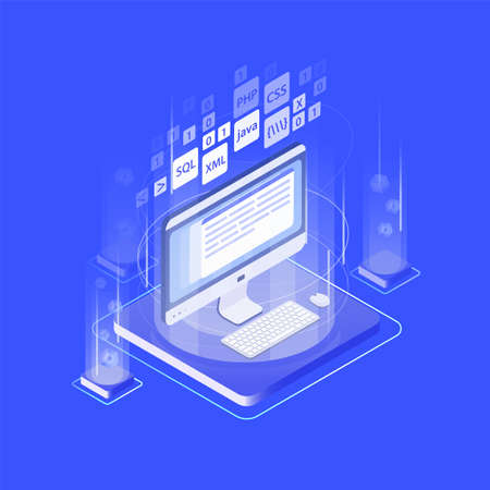 Computer display, keyboard, mouse pad and programming languages. Web application or software development, internet program coding. Modern composition. Creative isometric vector illustration. Vektorové ilustrace