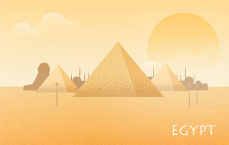 Beautiful Egypt desert landscape with silhouettes of Giza pyramid complex, statue of Great Sphinx, traditional buildings and large scorching sun on background. Colorful flat vector illustration.