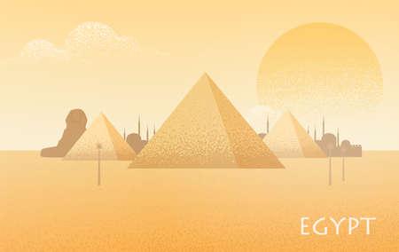 Piękny krajobraz pustyni Egiptu z sylwetkami kompleksu piramid w Gizie, posągiem Wielkiego Sfinksa, tradycyjnymi budynkami i dużym palącym słońcem w tle. Ilustracja kolorowy płaski wektor.