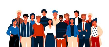 Retrato de grupo de oficinistas sonrientes divertidos o empleados de pie juntos. Equipo de empleados o colegas masculinos y femeninos alegres lindos. Ilustración de vector colorido en estilo de dibujos animados plana.