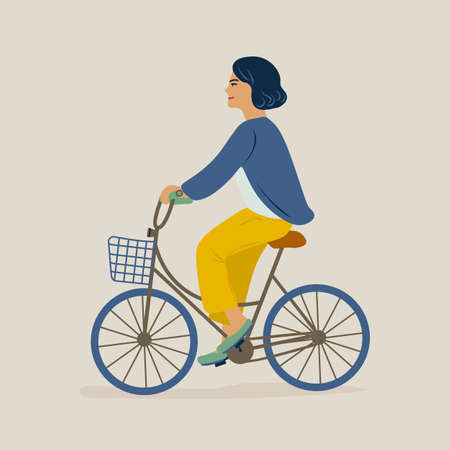 Young smiling woman or girl dressed in casual clothes riding bicycle. Female character on bike. Pedaling cyclist isolated on light background. Colorful vector illustration in flat cartoon style.