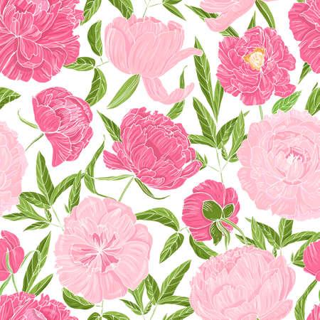 Romantico modello senza cuciture con splendide peonie in fiore su sfondo bianco. Contesto naturale con fiori da giardino. Illustrazione vettoriale botanica in stile vintage per stampa tessile, carta da parati