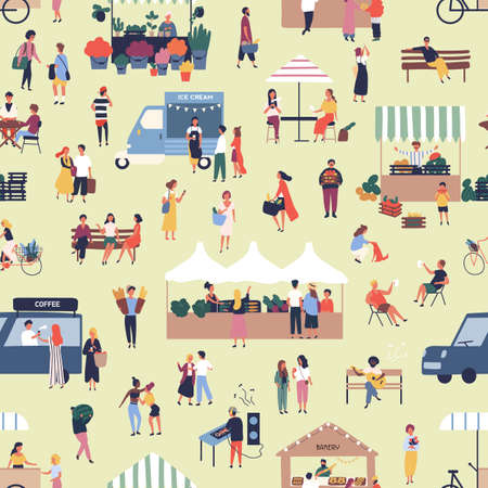 Seamless pattern with people buying and selling goods at street food seasonal market. Backdrop with men and women walking between stalls or kiosks at outdoor fair. Flat cartoon vector illustration