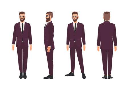 Apuesto hombre barbudo o empleado vestido con elegante traje de negocios. Sonriente personaje de dibujos animados masculino aislado sobre fondo blanco. Vistas frontal, lateral y trasera. Ilustración de vector de color en estilo plano Ilustración de vector