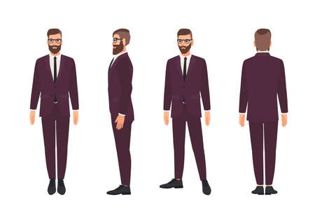 Bell'uomo barbuto o impiegato vestito con un elegante tailleur. Personaggio dei cartoni animati maschio sorridente isolato su priorità bassa bianca. Viste anteriore, laterale e posteriore. Illustrazione vettoriale colorata in stile piatto Vettoriali