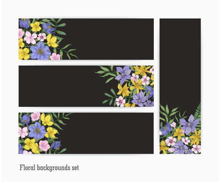 Collection of vertical and horizontal banner templates with gorgeous blooming wild flowers and flowering perennial plants on black background. Set of decorative floral backdrops. Vector illustration