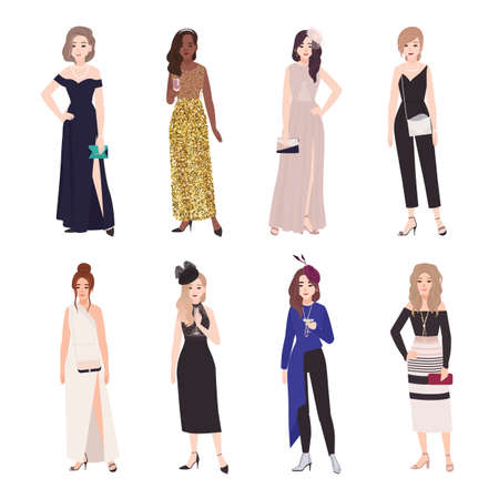 Collection of beautiful young women in evening outfits. Set of girls wearing elegant formal dresses and jumpsuit. Bundle of female cartoon characters isolated on white background. Vector illustration Illustration