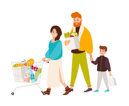 Familia feliz de compras en el supermercado. Sonriente madre, padre e hijo comprando productos alimenticios en la tienda de comestibles. Personajes de dibujos animados lindos aislados sobre fondo blanco. Ilustración de vector de estilo plano