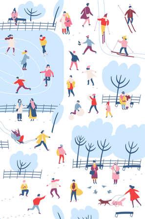 Piccole persone vestite con abiti invernali o capispalla che svolgono attività all'aperto nel parco cittadino: passeggiate, pattinaggio sul ghiaccio, sci, costruzione di pupazzo di neve. Illustrazione vettoriale colorato in stile cartone animato piatto Vettoriali