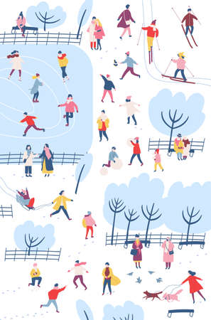Tiny people dressed in winter clothes or outerwear performing outdoor activities at city park - walking, ice skating, skiing, building snowman. Colorful vector illustration in flat cartoon style 向量圖像