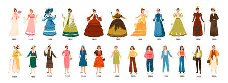 History of fashion. Collection of female clothing by decades. Bundle of pretty women dressed in stylish clothes isolated on white background. Colorful vector illustration in flat cartoon style