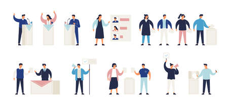 Political election process set. Bundle of people putting ballots in box at polling station, choosing candidate or voting, politicians taking part in debate, agitators. Isometric vector illustration