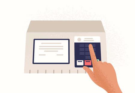Dito premendo il pulsante sulla macchina per il voto elettronico isolato su sfondo bianco. Dispositivo utilizzato in elezioni politiche o referendum per votare. Illustrazione vettoriale colorato in stile cartone animato piatto.