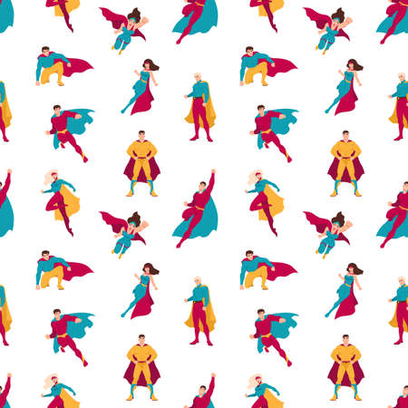 Seamless pattern with superheroes or men and women with super powers. Backdrop with supermen and superwomen on white background. Flat cartoon vector illustration for wrapping paper, textile print. Stock Vector - 114616616