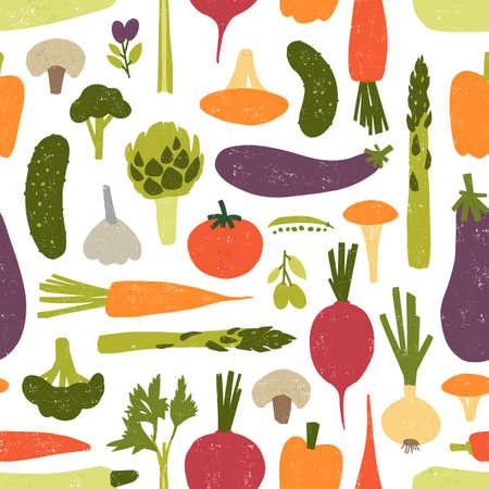 Modelo inconsútil moderno con deliciosas verduras o cultivos cosechados sobre fondo negro. Telón de fondo con productos alimenticios vegetarianos saludables. Ilustración de vector para impresión textil, papel de regalo
