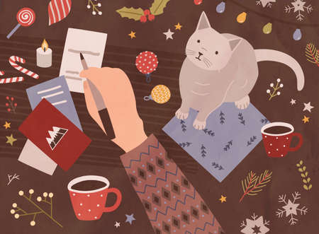 Christmas card template with hand holding pen and writing on holiday postcards, cute cat, cup of coffee, sweets, festive seasonal decorations. Colorful vector illustration in flat cartoon style
