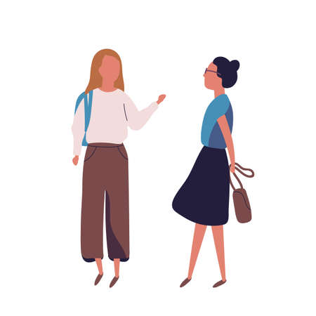 Pair of teenage girls isolated on white background. Female students, pupils or classmates talking to each other. Meeting of two friends or teenagers. Colored vector illustration in modern flat style
