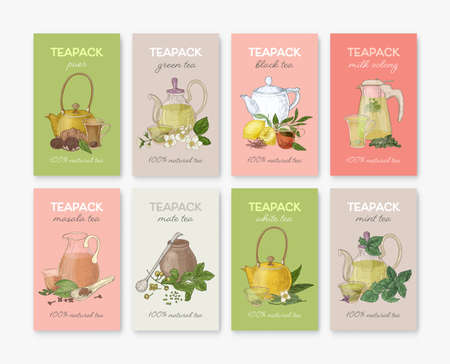 Collection of labels or tags with different types of tea - black, green, white, masala, mate, puer, mint, milk oolong. Set of hand drawn flavored drinks or natural beverages. Vector illustration Ilustração Vetorial