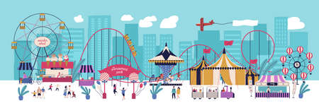 Amusement park with various attractions, circus, ferris wheel, carousel, roller coaster, kiosks with candies and ice cream. City area for recreation and entertainment. Flat vector illustration