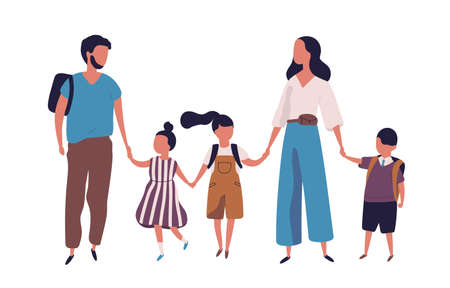 Mother and father leading their children to school. Portrait of modern family walking together. Parents and kids holding hands isolated on white background. Colorful vector illustration in flat style Stock Illustratie