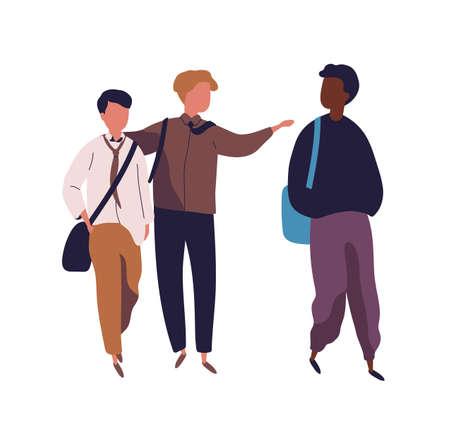 Gruppo di ragazzi adolescenti isolati su sfondo bianco. Studenti maschi, alunni, compagni di classe o compagni di scuola che camminano insieme e parlano tra loro. Illustrazione vettoriale colorato in stile piatto moderno