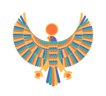 Ra - god, creator, deity or mythological creature depicted as falcon and sun disk. Legendary character from ancient Egypt mythology, culture or religion. Colorful vector illustration in flat style