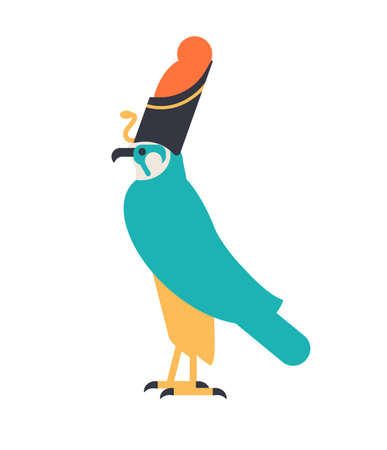 Horus - god of sky, guardian deity or mythological creature depicted as falcon wearing Egyptian crown. Legendary character from ancient Egypt mythology. Colorful vector illustration in flat style