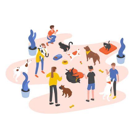 Group of people or volunteers feeding pets and playing with them in animal shelter, pound, rehabilitation or adoption center for stray and homeless cats and dogs. Isometric vector illustration