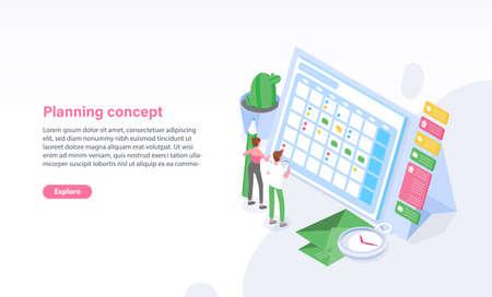 Plantilla de sitio web con hombre y mujer de pie frente a horario, horario o calendario. Planificación, gestión de tareas, organización del tiempo, arreglo de citas. Ilustración vectorial isométrica.